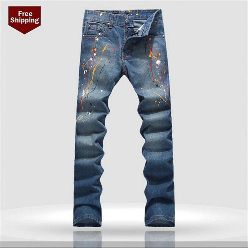 ФОТО Printed Jeans Pants,2016 Stretched Skinny Jeans Men, Quality Sim Men's Jeans,Size 28-36