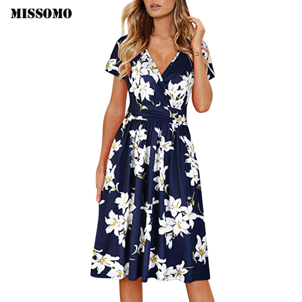 MISSOMO Dress Women Damask Printing Party Beach summer dress 2020 Streetwear Short Sleeve vestidos women clothes femme 614