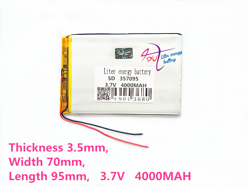 3.7V 4000 357095 (polymer lithium ion Battery Replacement Tablet Battery for tablet pc 7 inch MP3 MP4 taipower onda 8 inch 9 inch tablet pc battery 3 7v 6000mah 3 wire 2 wire lithium battery