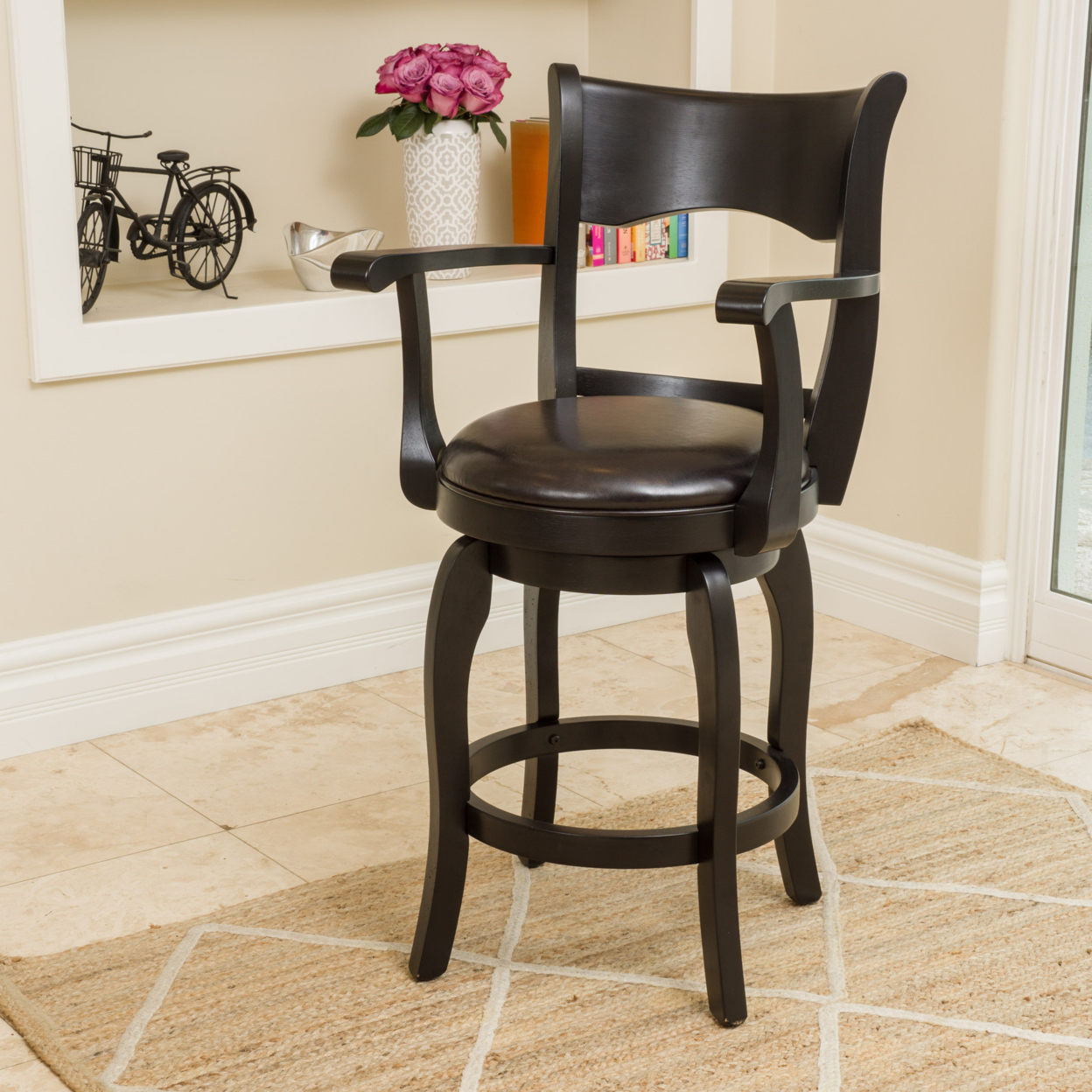 Cody Armed Espresso Leather Swivel Counter Stool catina counter stool charcoal
