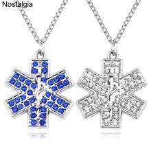 Caduceus Necklace Jewelry Stones Crystals Blue Star-Of-Life And Nostalgia Medical-Sign