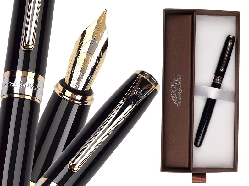 Fountain Pen Black M Nib HERO 385 standard pen office and school stationery FREE  SHIPPING 8pcs lot wholesale fountain pen black m 14 k solid gold nib or rollerball pen picasso 89 big executive stationery free shipping
