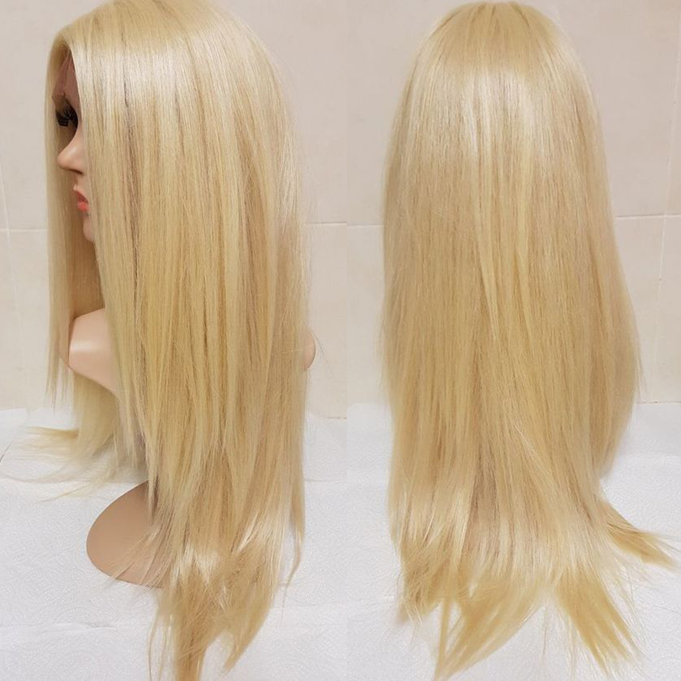 13X6 Lace Front Human Hair Wigs With Deep Parting Pre Plucked Straight Brazilian Remy 613 Blonde
