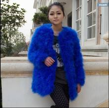 10 colors fashion sexy New 2015 winter real turkey ostrich wool outerwear medium-long plus cotton women's fur long-sleeve coat(China)
