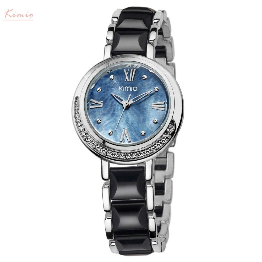 Kimio Brand Women Imitation Ceramic Watches Luxury Ladies Bracelet Quartz Watch Female Big Dial Crystal Waterproof Wristwatches