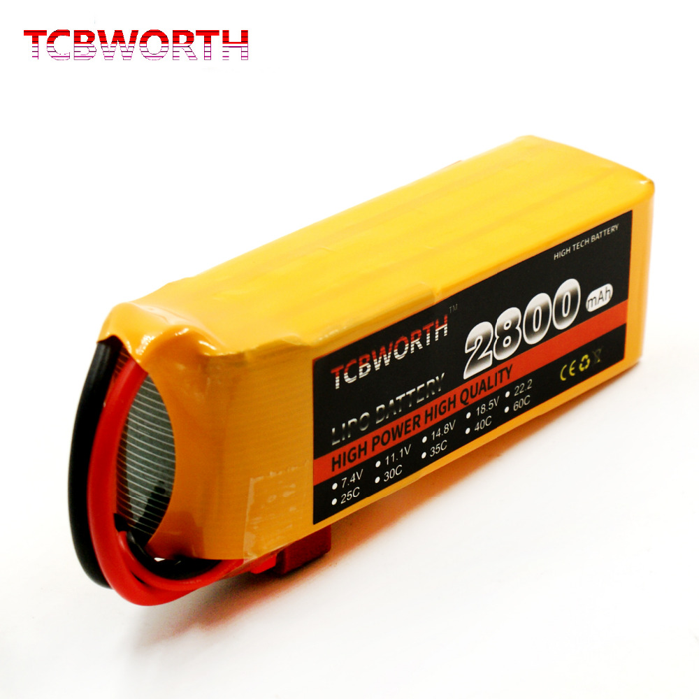 TCBWORTH RC Airplane LiPo battery 4S 14.8V 2800mAh 30C For RC Quadrotor Helicopter Drone Li-ion battery 1s 2s 3s 4s 5s 6s 7s 8s lipo battery balance connector for rc model battery esc