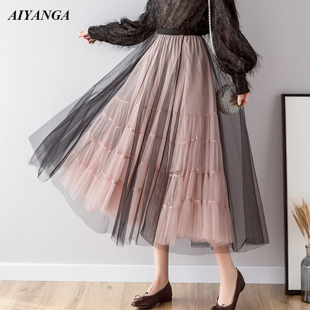 00741c12a0dac New Mesh Skirts Women 2019 Spring Summer Skirts Medium Long Style Big Hem  Fashion Patchwork Elegant