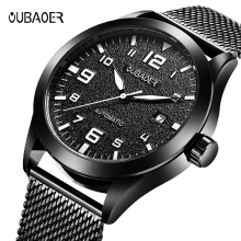 2019 Mens Watches Top Brand Luxury Business Automatic Clock Tourbillon 30M Waterproof Mechanical Watch Relogio Masculino Black