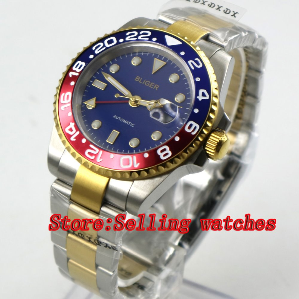 40mm bliger blue dial sapphire glass Red & blue bezel GMT date automatic men watch цена и фото