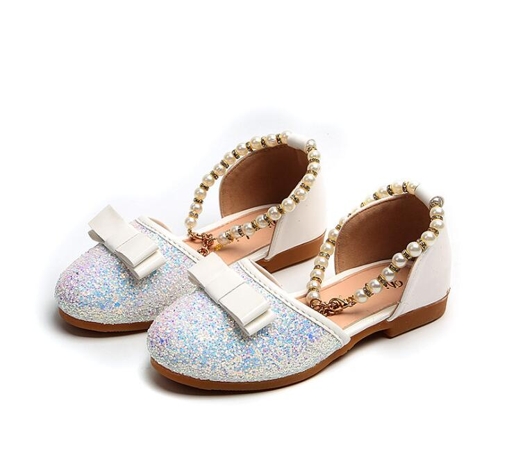 2018 New Style Children Princess Glitter Sandals Kids Girls Soft Shoes Square Low-heeled Dress Party Shoes Pearls Shoes