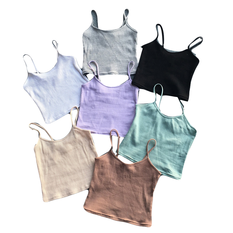 Summer Women's Slim Bodycon Camis Crop   Tops   Girls Sleeveless Tshirt Female Camisole   Tank     Tops   Tees For Women