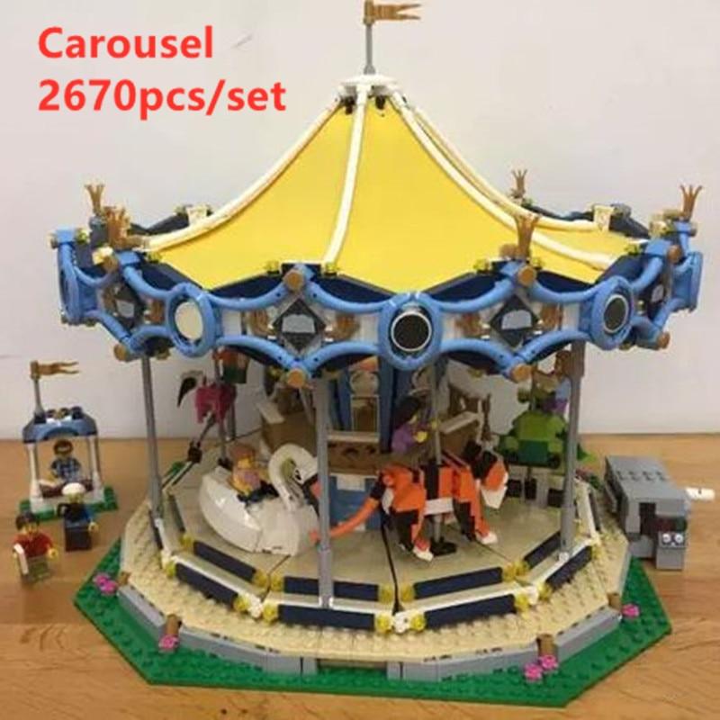 Street Series le nouveau avec moteur carrousel bloc de construction fit legoings 10257 ville créateur chiffres briques enfant jouets cadeau d'anniversaire