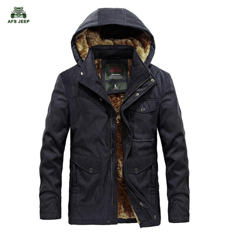 Afs Jeep Brand New Winter Coat male Parka Men Thick Warm Wool Liner Hooded Collar Plus Size M-3XL Winter Jacket free shipping winter parkas men jacket new 2017 thick warm loose brand original male plus size m 5xl coats 80hfx