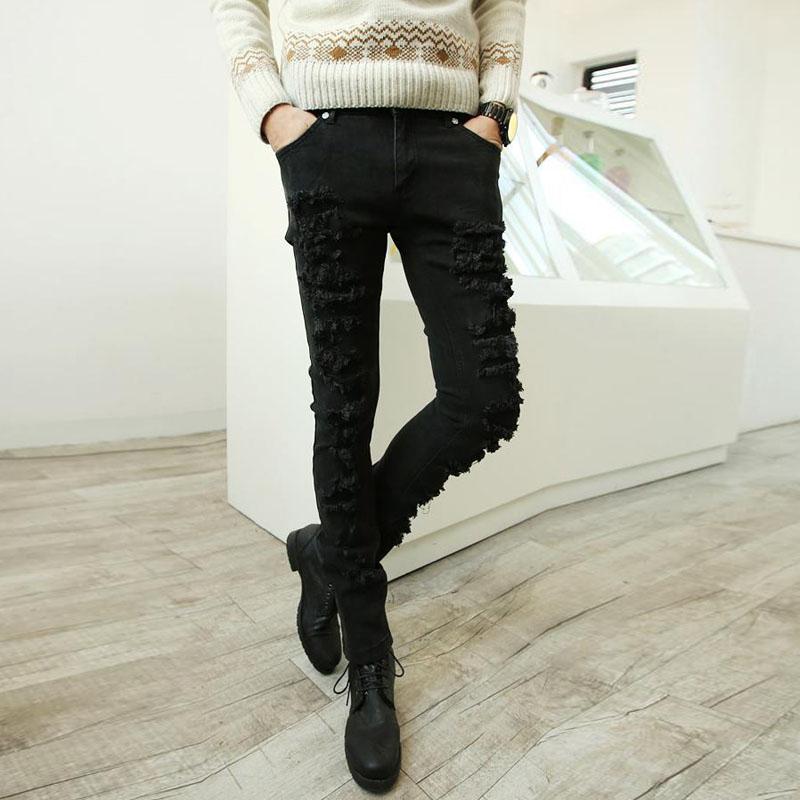 ФОТО Korean character knee hole Jeans Men Black Slim baggy jeans casual pants Zichao young feet