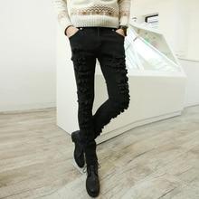 Корейский характер колено отверстие Джинсы Мужчины Черный Тонкий мешковатые джинсы повседневные брюки Zichao молодых ног