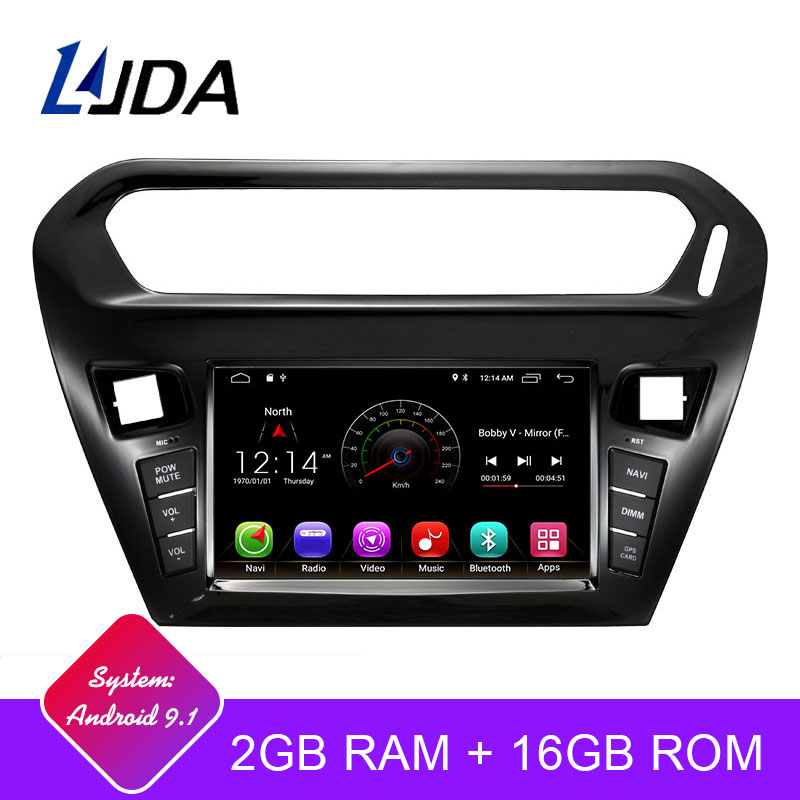 Lecteur DVD de voiture LJDA 1 Din Android 9.1 pour citroën Elysee Peugeot 301 2014-2016 Wifi GPS Radio stéréo GPS Radio WIFI multimédia