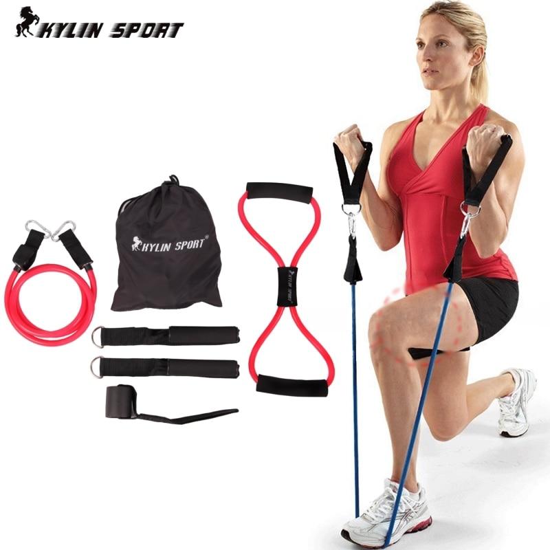6stk. Kvinder modstand bands elastisk træning sæt fitness tube yoga træning pilates for engros og fri forsendelse kylin sport