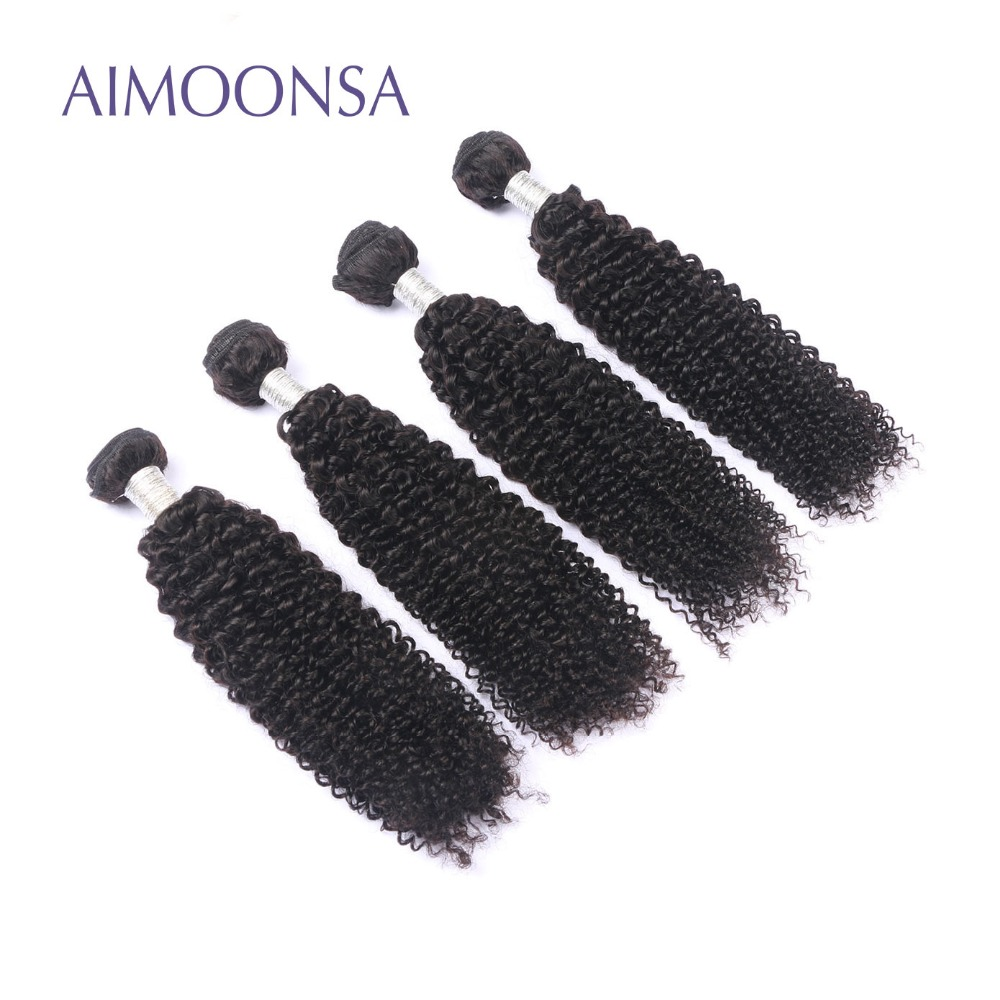 4 Bundles Brazilian Kinky Curly Human Hair Extension Remy Hair Weave For Black Women Natural Color 10-26 Inch Free Shipping