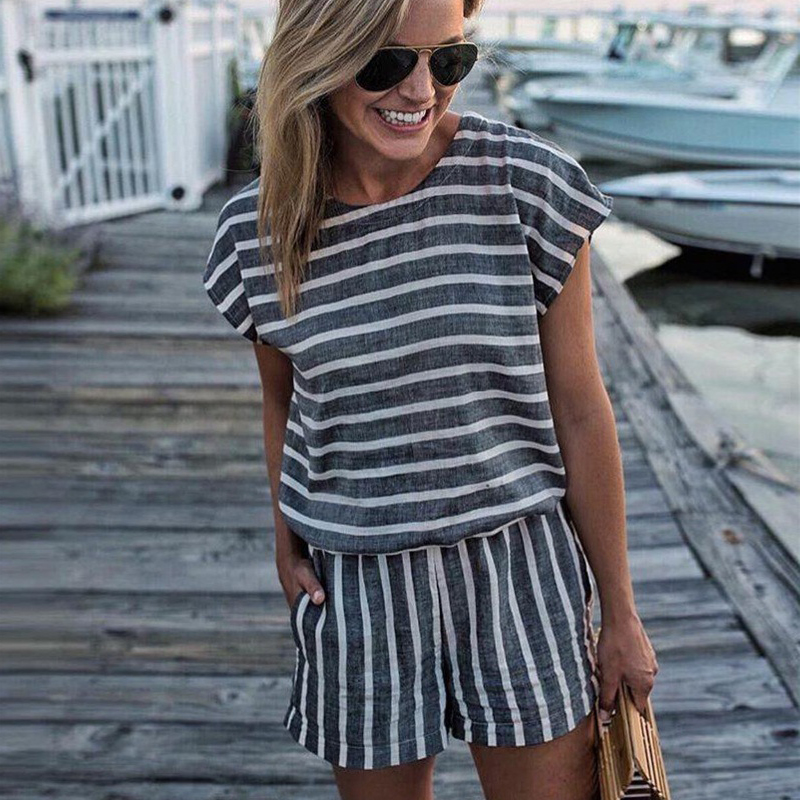 LOSSKY Short Sleeve Striped Losse Casual Summer Rompers Womens Jumpsuit Short 2018 Sexy Backless Boho Playsuits One Piece Tops