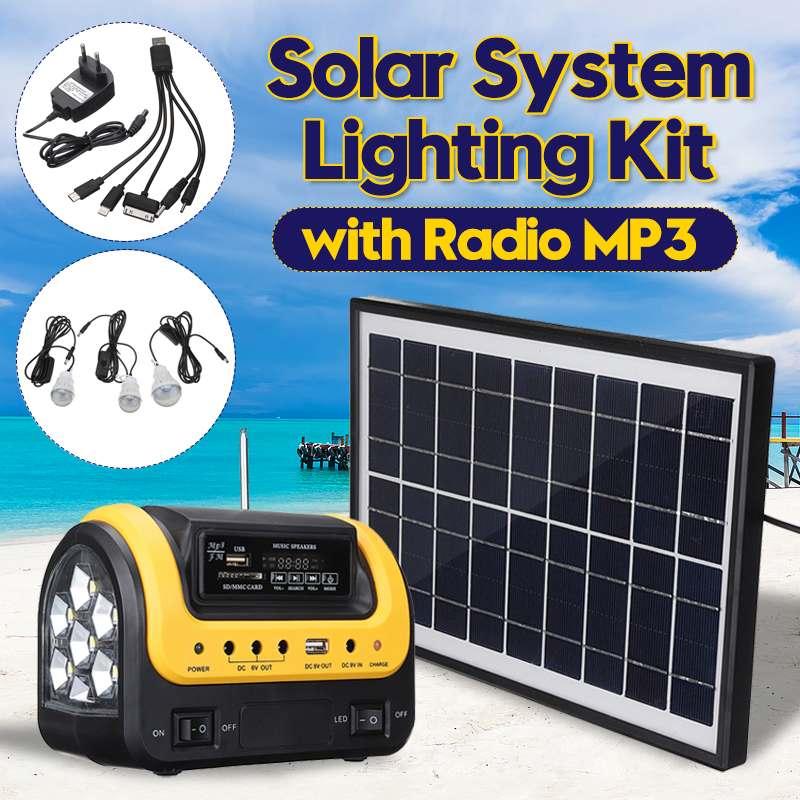 Kit de générateur de panneau d'énergie solaire de système de chargeur d'usb de maison de suffisance avec la Radio MP3 3 ampoule LED éclairage extérieur d'intérieur de secours léger