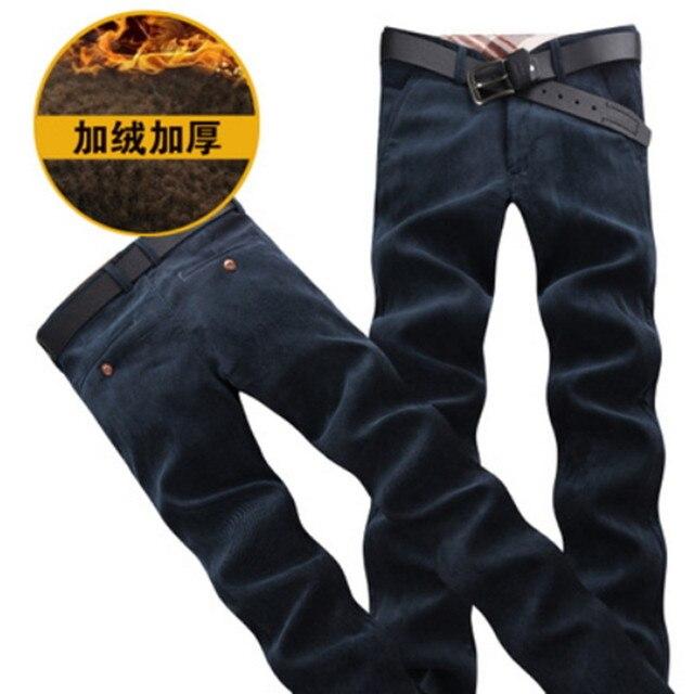 Новая зима 2017 мужская мода бутик pure color руно теплый тонкий досуг бизнес брюки/Мужской хлопок вельвет случайные брюки