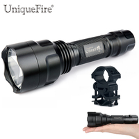 Uniquefire C8 XPE Glass Lens LED Flashlight 3 Modes Rechargeable 18650 Lamp Torch(G/W/R)+QQ07 Scope Mount For Remote Hunting