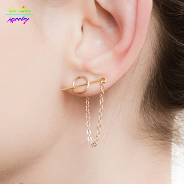 Unique Gold Tone Circel Threader Earrings For Women Edgy Long Chain Stick
