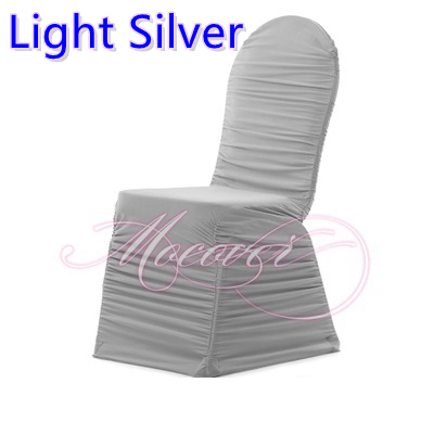 Ruched Spandex Chair Cover Wicker Replacement Cushions Canada Light Silver Colour Ruffled Covers Universal Lycra Pleated Wedding Decoration Sale