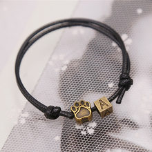 2019 New Fashion Bracelets for Women and Men Letter Bracelet A~Z and Bronze Footprints Charm Bracelet Handmade Rope Chain(China)