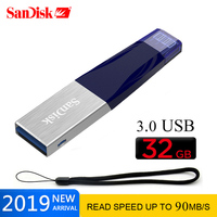 Sandisk iXPAND FLASH DRIVE USB 3.0 32GB 64GB Lightning to Metal Pen Drive U Disk for IOS 8.2 memory stick 128GB For iPhone iPAD