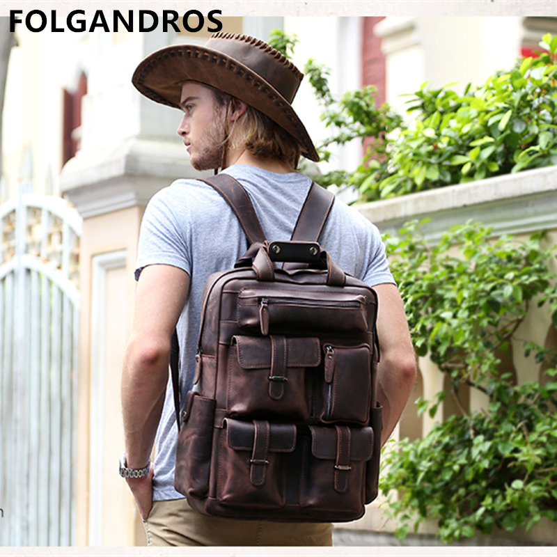 Brand Genuine Leather Backpack Crazy Horse Cowhide Leather Backpack Designer Large Capacity Handmade Multi Pockets BackpackBrand Genuine Leather Backpack Crazy Horse Cowhide Leather Backpack Designer Large Capacity Handmade Multi Pockets Backpack