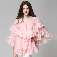 2017 Summer Fashion Women Off Shoulder Ruffles Shirt New Lace collar Blouse Casual Tops Free shipping plus size 3621