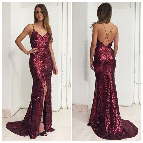 58874064e3c73 2017 Burgundy Wine Red Sexy Evening Dress Mermaid Prom Dress Deep V-neck  Backless Srquins Lace Long Evening Dresses Prom Dresses