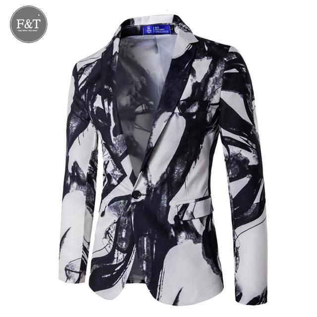 Hombres Negro Etapa Blazers Moda Para Hombre Casual Impreso Blazer Un Botón Slim Fit Hombres Chaqueta Del Juego de Vestido Del Novio vestido