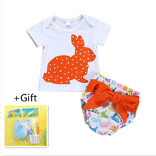 European Kids Easter Romper Suit Baby Girl Animal Bunny Print T Shirt+romper Wholesale Children Clothes Free Shipping