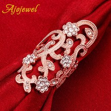 Ajojewel Vine Leaf CZ Flower Large Womens Rings Jewelry Gifts For Luxury Accessories Golden Ringen
