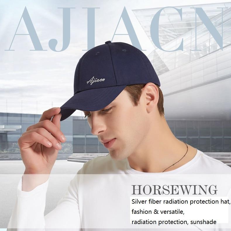 Ajiacn New arrival electromagnetic radiation protective baseball cap,silver fiber EMF radiation shielding,sun shading, peak cap.