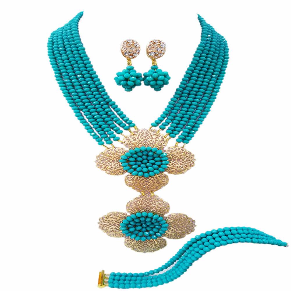 אופנה שרשרת שמירה על גדילים רב כחול אקווה 5-LDH01 גביש סט תכשיטי חרוזים אפריקאים כלה ניגרית