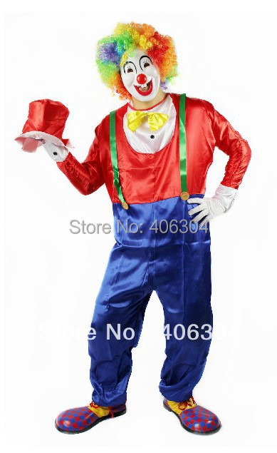Free shipping,Cosplay adult Clown party Clothes including red blue clown costume mask gloves hat wig shoes