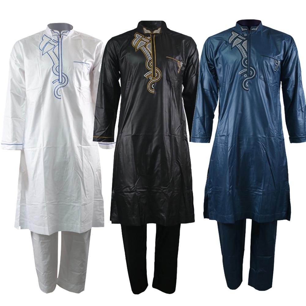 Jubba Thobe For Men Kaftan Men Muslim Suit Embroidery Islamic Clothing Men Agal Jellaba Arab Clothing Men Pants Muslim Set 2019