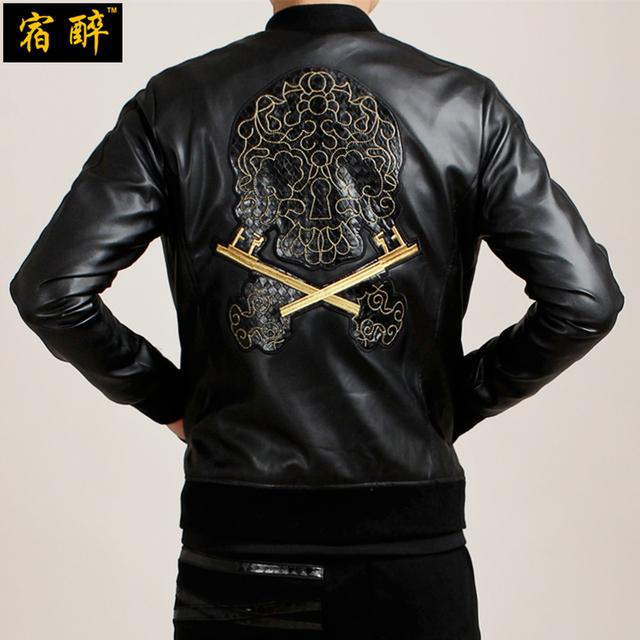[HANGOVER] Embroidered skull pattern PU motorcycle leather jacket 2016 Autumn&Winter new European style leather jacket men M-4XL