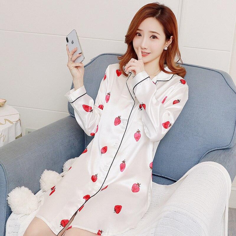 2019 Women   Nightgowns   Sexy Satin Sleepwear Stripes Nightdress Summer   Sleepshirts   Sleep Lounge Night Dress Silk Nightwear