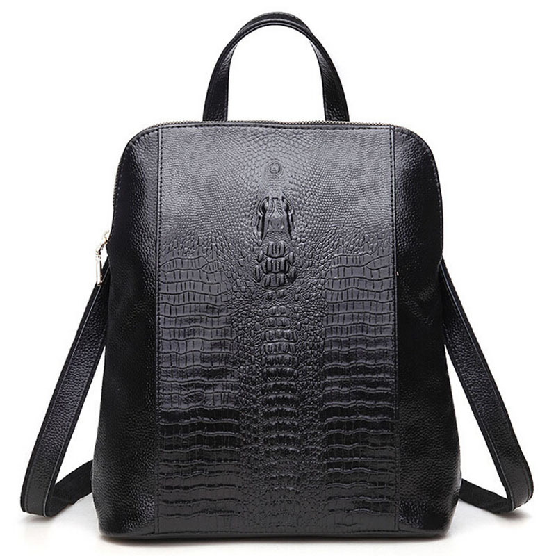 2015 Hot 100% Crocodile Genuine Leather Women Backpack Fashion Alligator Leather Women Back Bag Black School Bags Backpacks Girl natural enemy fauna in rice wheat system of india