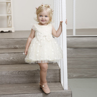 BOSTYED baby girl dress 2018 new summer flower baby dresses cap sleeve embroidery tulle sleeve beige little girl party dress