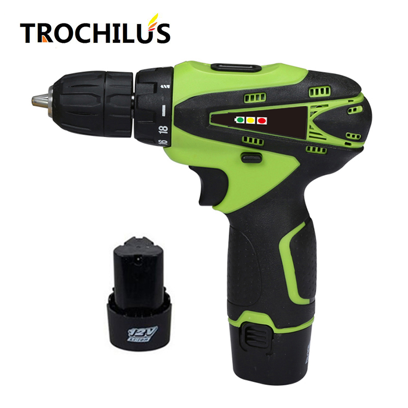 High quality 12V power tools cordless drill multi-function screwdriver with lithium battery * 2 mini  electric drill high quality screwdriver combination set unique telescopic function