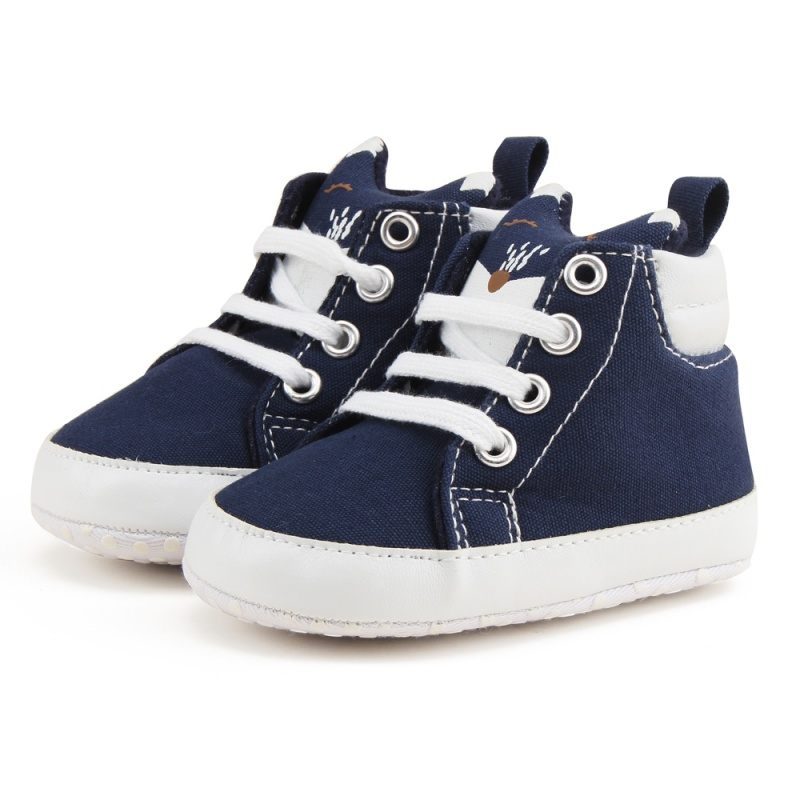 Cartoon Fox Toddler Shoes 0-1Y Soft Bottom Baby Shoes First Walkers Newborn Girls Boys Shoes Lace-Up Canvas Sports Sneakers