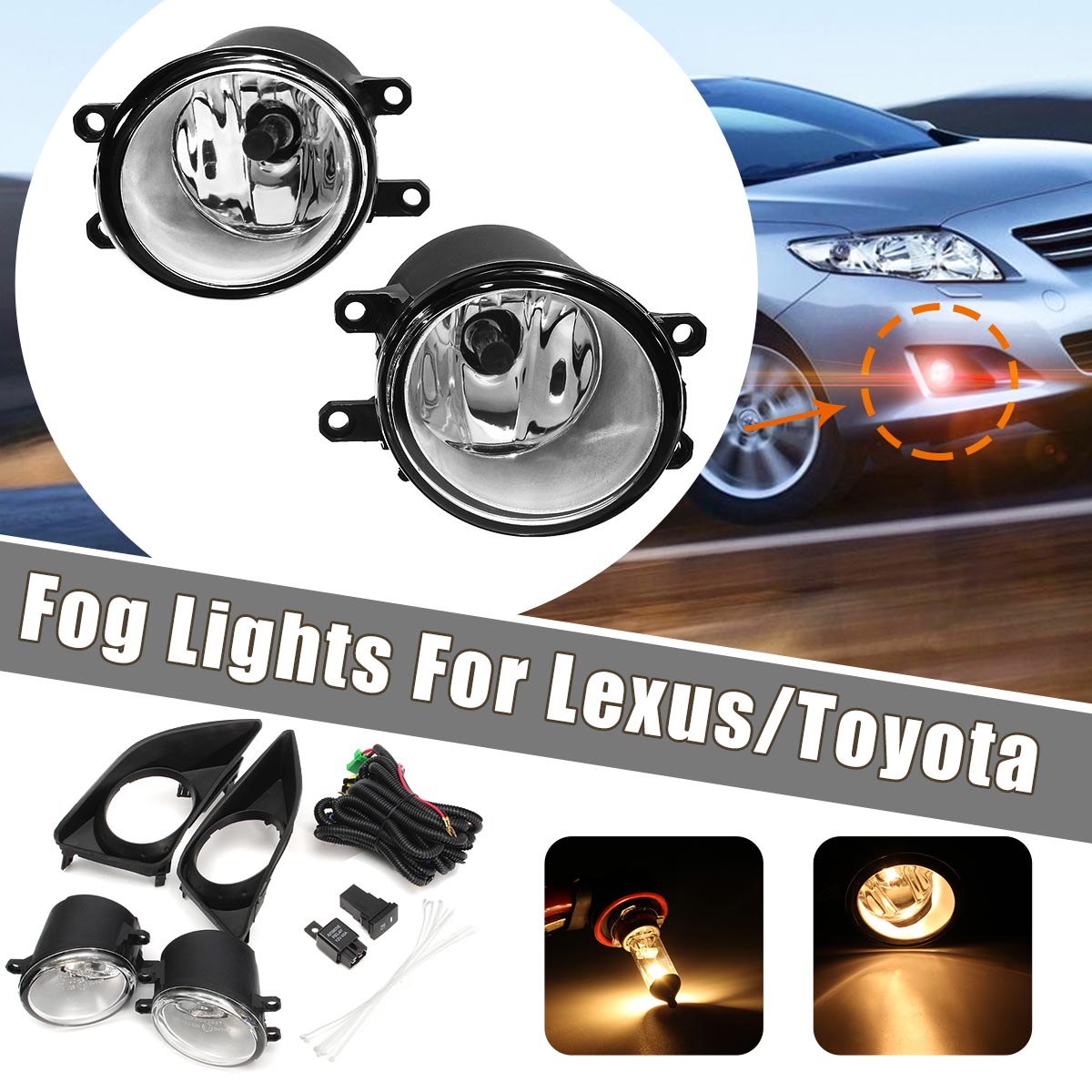 2Pcs H11 Car Front Bumper Left/Right Fog Light Lamp+Black Grille Covers Switch H11 Bulbs For Toyota Corolla 2008-2010 2pcs auto right left fog light lamp car styling h11 halogen light 12v 55w bulb assembly for citroen c4 coupe la 2004 2008 2010