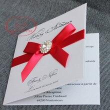 Для некоторых стран! HI1043 элегантная белая свадебная карта с красным бантом из ленты и брошью Сделано в Китае