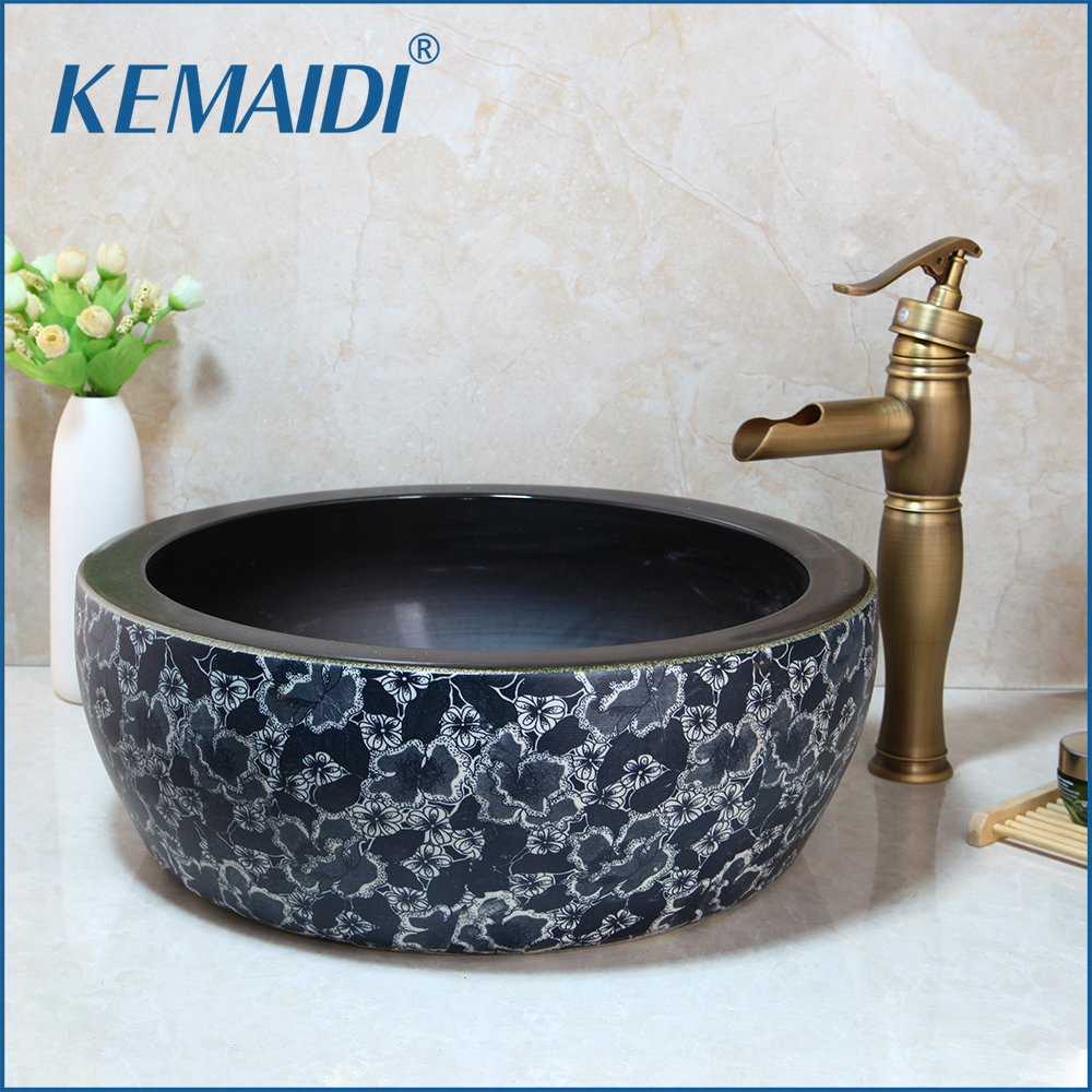 KEMAIDI Bathroom Ceramic Round Sink Antique Brass Deck Mounted Tap Mixer Faucet With Drain Wash Basin