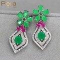 Vintage Oro Blanco Plateado Nigerianos Mujeres Partido de la Flor Grande Pendientes de Gota Largos de La Joyería Con Piedra Natural Verde Y Rojo E195